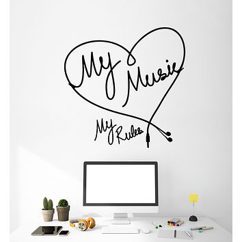 Vinyl Wall Decal Musical Quote My Music My Rules Headphones Stickers Mural (g1489)