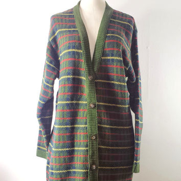 VTG Liz Claiborne Long Duster PLAID Sweater Coat Cardigan Knit Jacket Size S