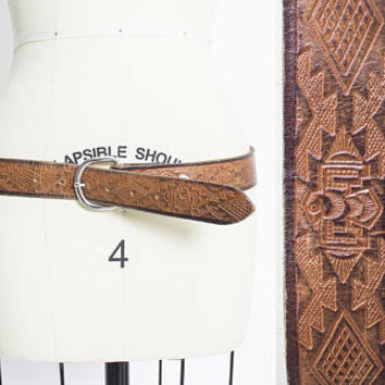 Vintage 1970s Leather Belt - Mexican Thunderbird Tooled Brown Boho - Large