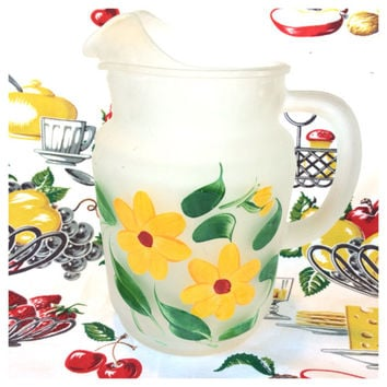 Mid Century Gay Fad Pitcher Frosted Hand Painted Yellow Flowers Vintage Kitchen