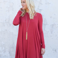 These Promises Long-Sleeve Dress - Brick