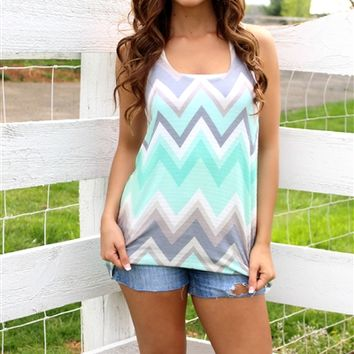 Mint Chevron Tank Top