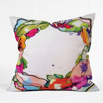 CayenaBlanca Floral Frame Throw Pillow