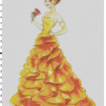 Small Size Disney Designer Princess Doll Belle (Beauty and the Beast) Cross Stitch Pattern PDF (Pattern Only)