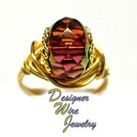 DWJ0292 Sparkling Faceted Amber Picasso Czech Crystal Gold Wire Wrap Ring All Sizes