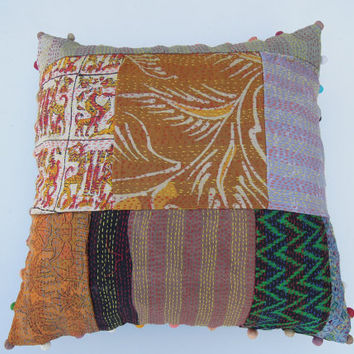 16x16 Handmade Silk Sari Kantha Patchwork Cushion Cover Embroidered Indian Decorative Throw Pillow Cover Soft Furnishing Thanksgiving Gift