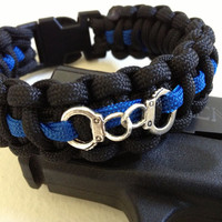"Custom Thin Blue Line Paracord Bracelet with Handcuff and 5/8"" buckle"