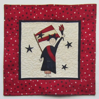 Lady Liberty American Patriotic Quilted Mug Rug or Mini Wall Quilt