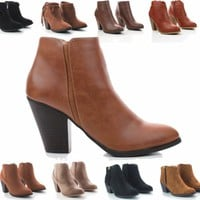 AQ Ankle Western Boots w/ Chunky Stack Heel