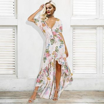 V Neck Print Mermaid Floral Button Casual Sash Long Dress