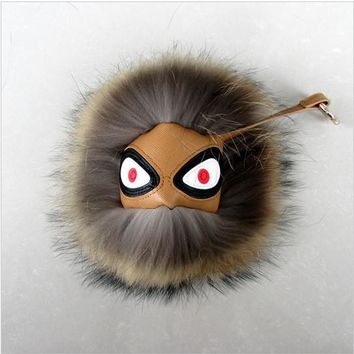 BEADY FUR MONSTER BAG CHARM - BRET in BROWN