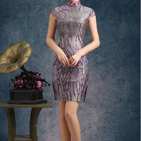 Print Sheath Party Qipao