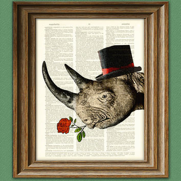 Rhino Art Print Care to Tango Rhinoceros with Rose and fancy hat over an upcycled vintage dictionary page book art print