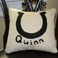 The Lucky Horseshoe Pillow, 12 X 12, Personalized with Name or Without, Hand painted, Envelope Closure,