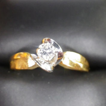 Vintage 18ct Yellow and White Gold Solitaire Diamond Engagement Ring