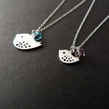 Big Sister Little Sister Necklace Set, Sterling Silver, Big Sis, Lil Sis, Sisters Jewelry, Birthstone