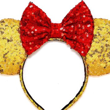 Beauty And The Beast - Gold Sequin Ears and Red Bow