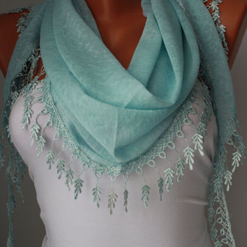 Blue Shawl Scarf - Headband - Cowl with Lace Edge/Spring Trends