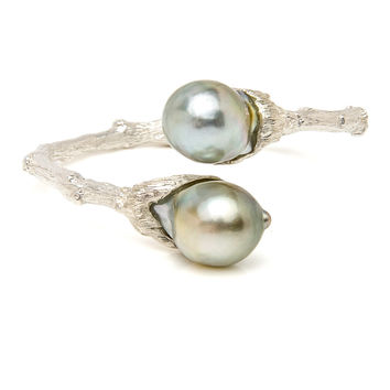 Sterling Silver South Sea Pearl Bypass Twig Cuff