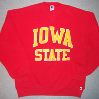 Vintage 80s Iowa State Red Sweatshirt Cyclones Football NCAA Basketball Longsleeve Russell Athletic Made In USA L Large