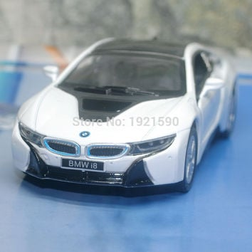 Brand New KINGSMART 1 36 Scale Germany B-*M-W i8 Diecast Metal Pull Back Car Model Toy For Gift Collection Kids