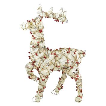 "28"" Lighted Standing Burlap and Berry Rattan Reindeer Christmas Yard Art Decoration"