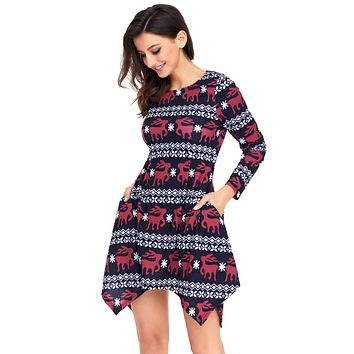 Cute Christmas Reindeer Print Navy Swingy Mini Dress