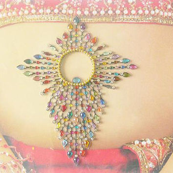 Multicolor bellydancing tattoo,Stunning all in one forhead gems,Festival style high quality bindi,Indian wedding jewelry,Stick on body jewel