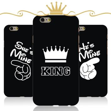 Trendy Luxury Crown King Queen For Apple iPhone 6 6s Case 6Plus Hard PC Ultra Thin Mobel Phone Back Skin Covers Phone Cases Funda Coque AT_94_13