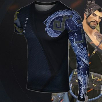 Game OWT Watch Over tshirt Hanzo Cos Detachable Sleeve T Shirt Costume Cosplay Bodybuilding Clothes Half Sleeve Man T-shirts