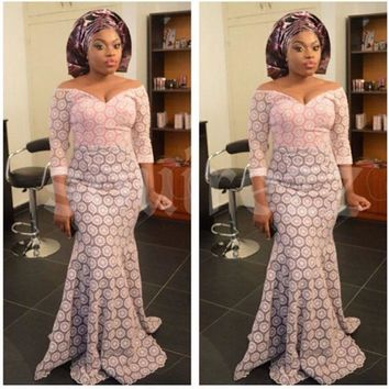 Hi-Target  African Lace Fabric Wedding Dresses  For Women  Latest Nigeria African Lace Dashiki Traditional Clothing WY2364