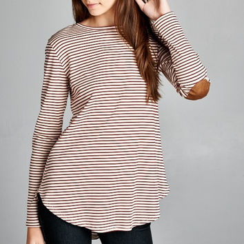 Chelsea Striped Top with Elbow Patches