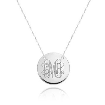 Monogram Necklace - Silver Disc Necklace - Personalized Necklace - Initial Necklace - Bridesmaids Necklaces