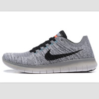 Nike free RN flynit running sneakers Sport Casual Shoes Sneakers Light grey black hook