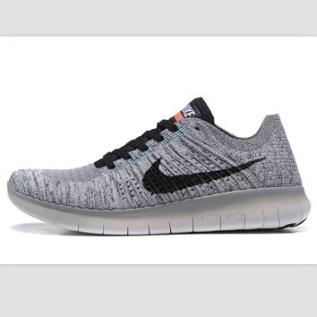Nike free RN flynit running sneakers Sport Casual Shoes Sneakers Light grey  black hook bda257811