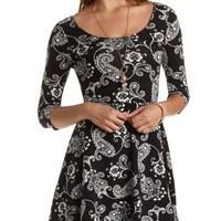 Paisley Print Cotton Skater Dress by Charlotte Russe - Black/White