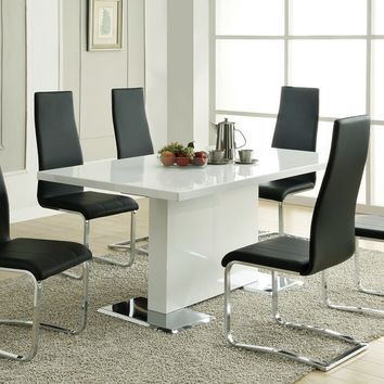 102310-100515blk 5 pc nameth modern ii collection white high gloss finish top pedestal base dining table set with padded chairs