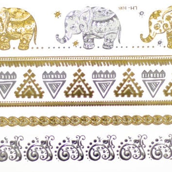 Elephant Metallic Tattoo Gold Silver Festival Beach Holiday Gift Present Flash Tattoo Body Accessories Gift For Her Birthday
