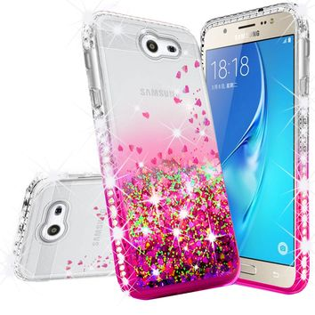 Samsung Galaxy J3 (2017) ,Galaxy J3 Emerge Case Liquid Glitter Phone Case Waterfall Floating Quicksand Bling Sparkle Cute Protective Girls Women Cover for Galaxy J3 Emerge/J3 (2017)/J3 Prime/Express Prime 2/Amp Prime 2 - Hot Pink
