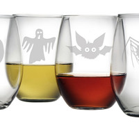Scary Creatures Stemless Wine Glasses
