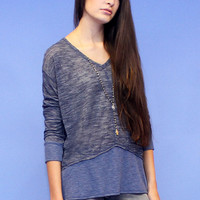 BLU PEPPER Slub Knit Ribbed Panel Long Sleeve Top