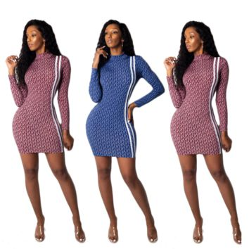 Autumn fashion New More Letter Print Sexy Long Sleeve Personality Dress