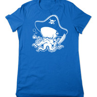 Funny T Shirt, Pirate Octopus TShirt, Funny Tshirt, Ocean Animal T Shirt, Octopus T Shirt, Graphic Tee, Ladies Women Plus Size