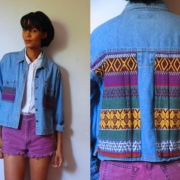 Vtg Colorful Tribal Back and Pockets Button Down Denim Shirt