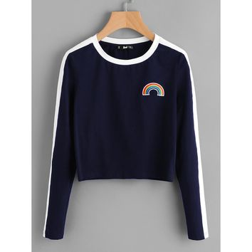 Rainbow Patch Contrast Panel Crop Tee Navy