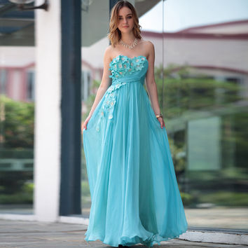 Sheath/Column Strapless Chiffon Floor-length Evening Dress With Hand Made Flower at Dresseshop