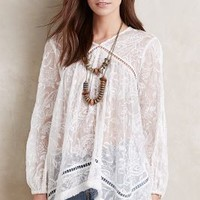Zimmermann Fringed Silk Peasant Top in Ivory Size: