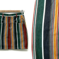 Vintage Striped Skirt~Size Extra Small/Waist 24~70s 80s 90s High Waisted Jean Denim Short Pencil Red Yellow Green Blue~Good Fellows
