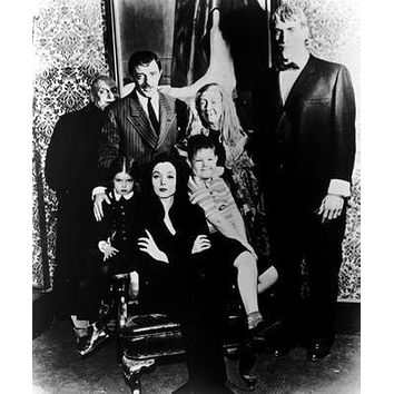 Addams Family Tv Bw poster Metal Sign Wall Art 8in x 12in