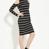 Ribbed Stripe Turtleneck Dress